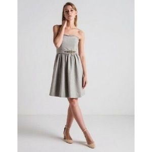 Banana Republic Gray Wool Jewel Strapless Dress